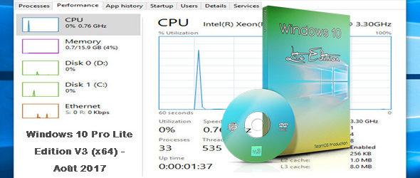 Windows 10 Pro Lite Edition V3 (x64) – Août 2017
