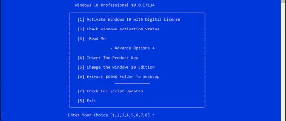 Win 10 Digital License Activation Script 5.0
