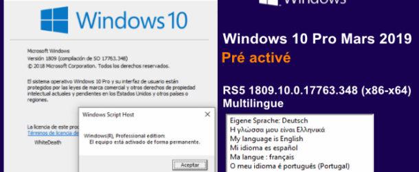 Windows 10 Pro Mars 2019 Pré activé